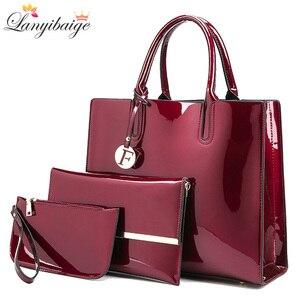 Image 1 - Marca 3 set borse da donna borsa a tracolla femminile in pelle verniciata di alta qualità Tote di lusso + borsa a tracolla a spalla da donna + pochette