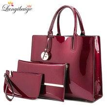 Marke 3 Sets Frauen Handtaschen Hohe Qualität Patent Leder Weibliche Messenger Tasche Luxus Tote + Damen Schulter Crossbody tasche + kupplung