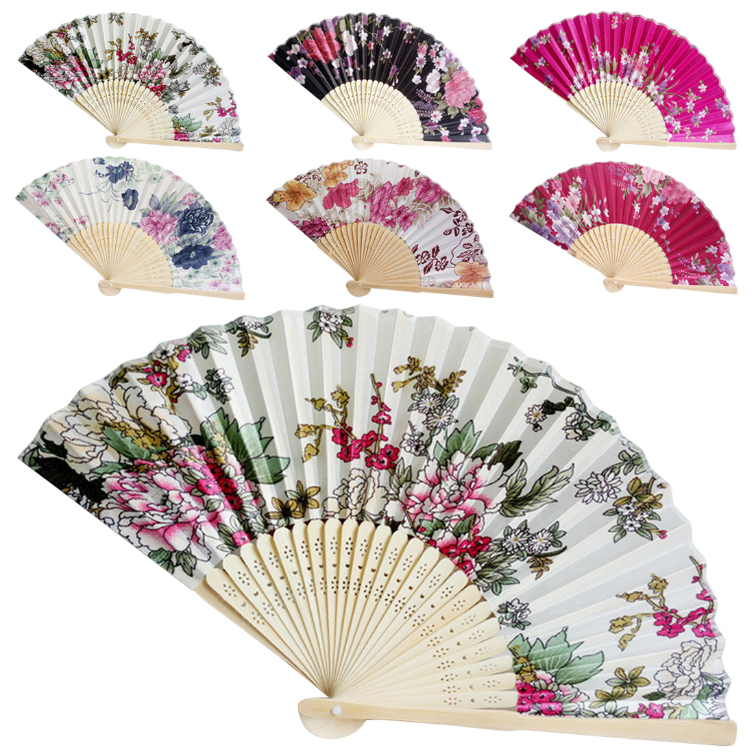 Chinese Style Flower Wedding Ball Decoration Vintage Bamboo Folding Fan Dance Party Colorful Hand Fan Summer Pocket Gift Wedding