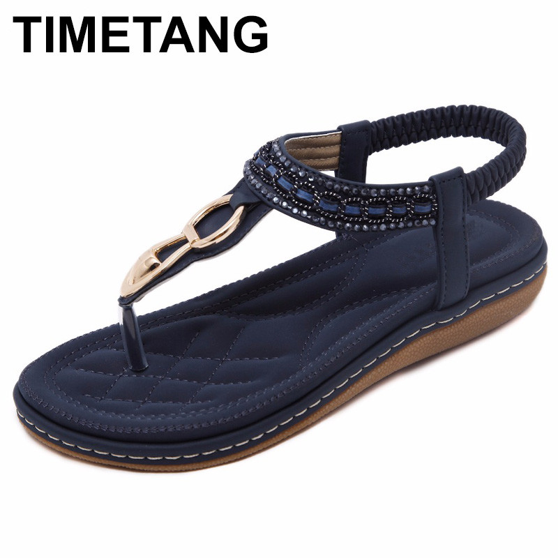 TIMETANG new women Bohemia Flat sandals shoes woman String Bead flip flop Metal Decoration beach sandals casual shoes timetang flat sandals t strap fashion trend sandals bohemia national flat heel beaded female shoes sale women shoes
