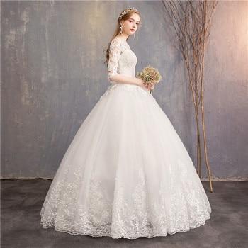 Half Sleeve Wedding Dresses 2020 New Mrs Win Luxury Lace Embroidery Ball Gown Wedding Dress Can Custom Made Vestido De Noiva F 3