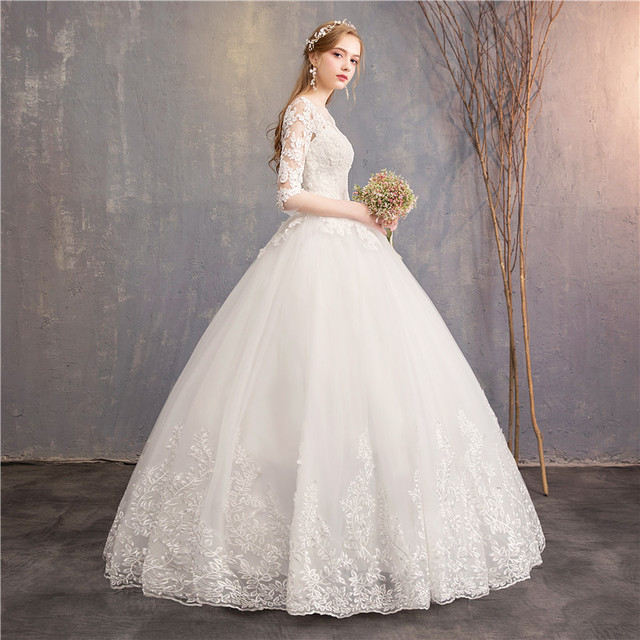 Half Sleeve Wedding Dresses 2019 New Mrs Win Luxury Lace Embroidery Ball Gown Wedding Dress Can Custom Made Vestido De Noiva F