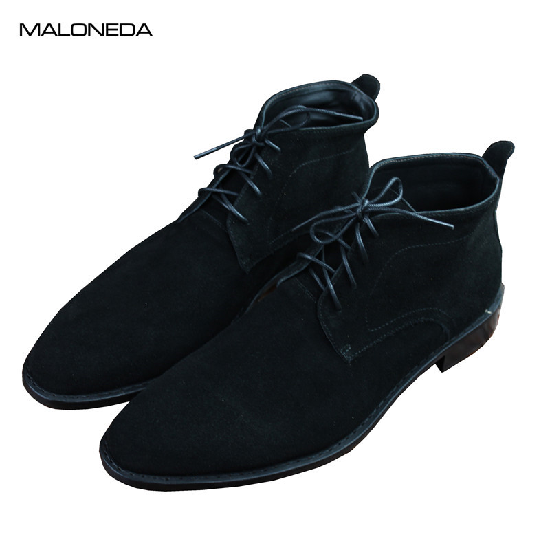 MALONEDE Bespoke Goodyear Men Boots Genuine Suede Leather Large Size Men Casual Boots Lace-Up Black/Blue Spring/Autumn Shoes MALONEDE Bespoke Goodyear Men Boots Genuine Suede Leather Large Size Men Casual Boots Lace-Up Black/Blue Spring/Autumn Shoes