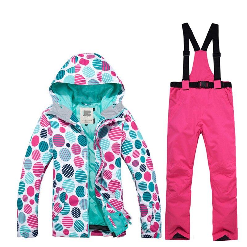Haute qualité d'hiver de femmes combinaison de ski snowboard coupe-vent imperméable alpinisme d'hiver au chaud neige bottes + détachable bib pantalon