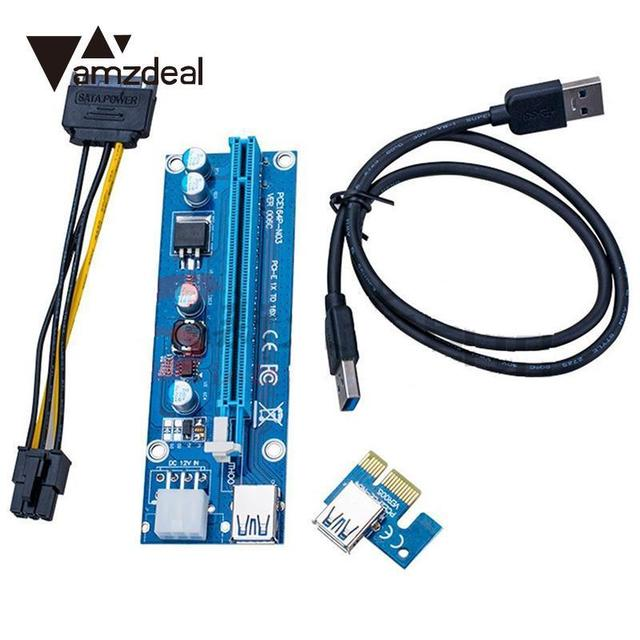 amzdeal USB 3.0 PCI E 1x to 16x Extender Riser Card Board Adapter ...