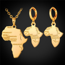 African Jewelry Set Pendant Necklace & Drop Earrings Women Gift Platinum/Yellow Gold Plated Africa Map Ethiopian Jewelry PE873
