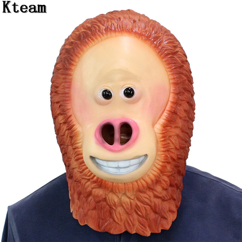 2019 !Funny Monkey Head Mask Full Face Adult Apes Realistic Mask Breathable Halloween Masquerade Fancy Dress Cosplay Party Props