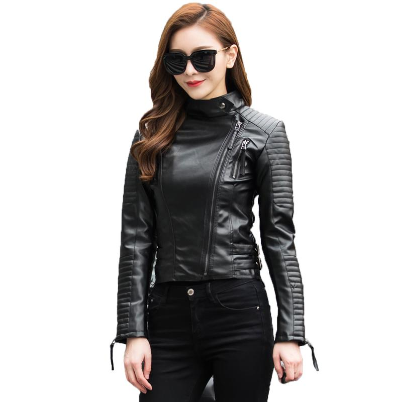 Ailegogo Women Autumn Winter Punk   Leather   Jacket Soft PU Faux   Leather   Jackets Female Basic Bomber   Leather   Coats 2018