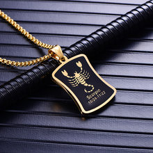 Scorpio 12 Constellations Necklace Birthday Gifts Gold Color Stainless Steel Amulet Pendant Zodiac Sign Jewelry Collier 2019