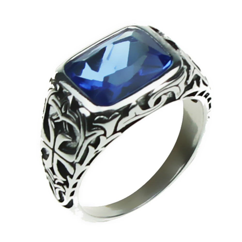 Real Pure 925 Sterling Silver Rings For Men Blue Natural Crystal Stone Mens Ring Vintage Hollow Engraved Flower Fine Jewelry a suit of vintage engraved rivet rings