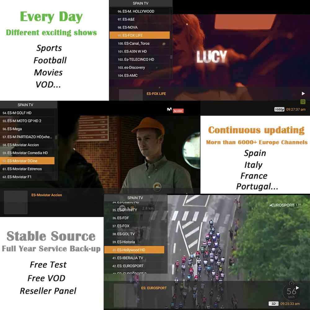 3 Months Spain IPTV Subscription 6000+ Live VOD Adult XXX Code Europe IPTV  ESPA A For M3U Android TV Box IP TV HD Reseller Panel