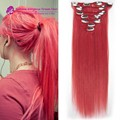 Pink Top-rated Clip In human Hair Extensions 100% virgin human Hair Clip in human Hairpiece 7pcs/set pink Full head set clip in
