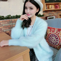 NEW women's knitted mink cashmere cardigan female knit sweater coat jacket ladies outwear waistcoat