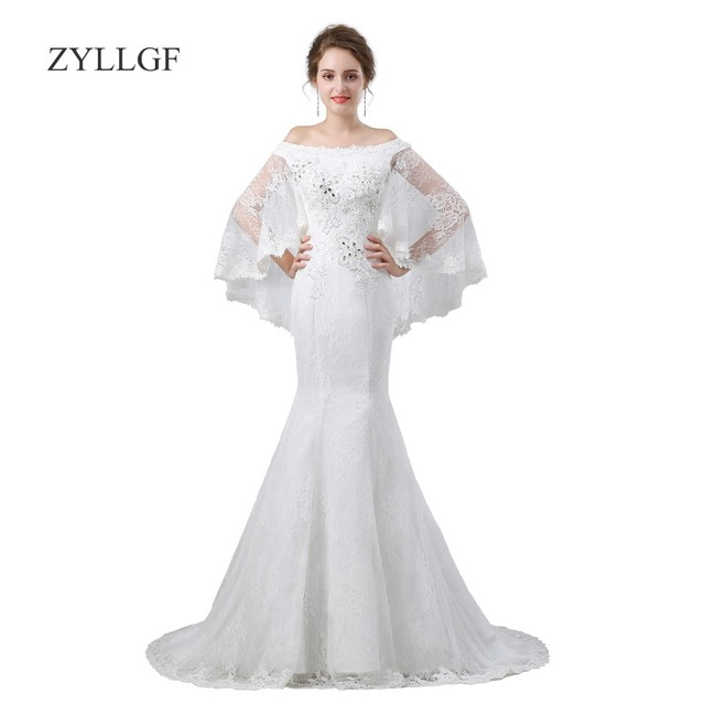 ZYLLGF White Lace Mother Of Bride Dresses Mermaid Boat Neck Corset ...