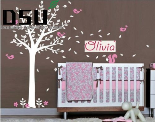 все цены на Custom Personalised Name Birds squirrel Tree Branches Vinyl Wall Stickers Baby Wall Decals Wall Stickers For Kids Room Wallpaper