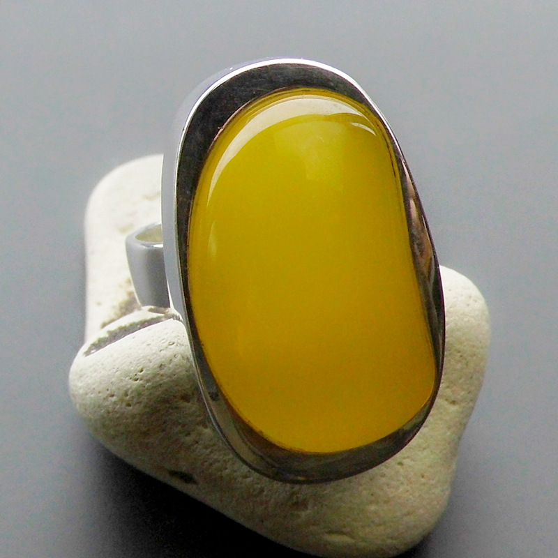 Natural Yellow Stone Ring 925 Sterling Silver Bague Femme Wedding Punk Statement Pure S925 Thai Silver Rings for Women Jewelry