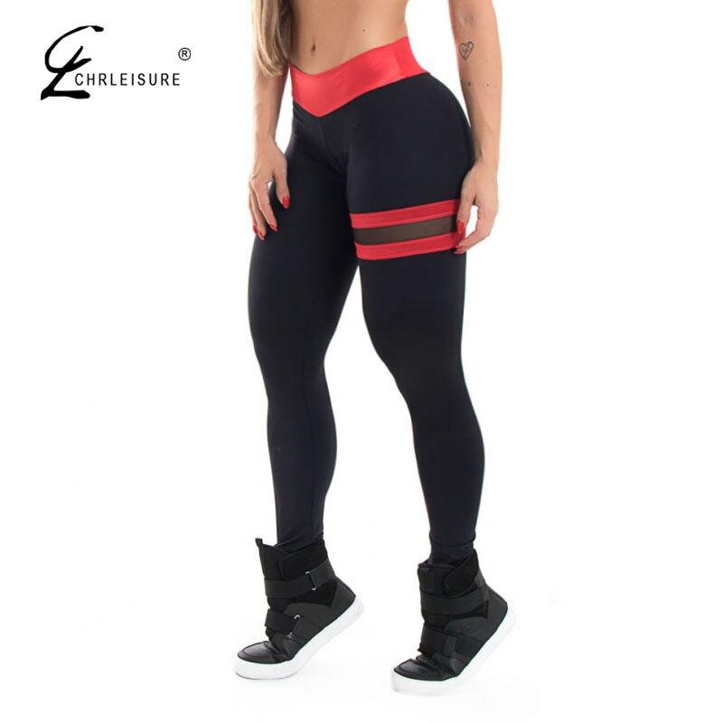 CHRLEISURE Mujer Fitness polainas alta cintura de malla de mosaico polainas Mujer Push Up Sexy polainas 3 Color