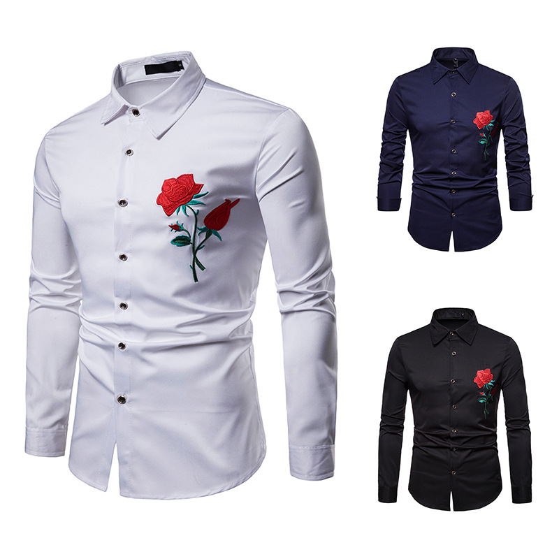 2018 High Quality Men Shirt Fashion Brand Long Sleeve Shirt Court Style Embroidered Henry Collars Casual Slim Fit Male Shirts