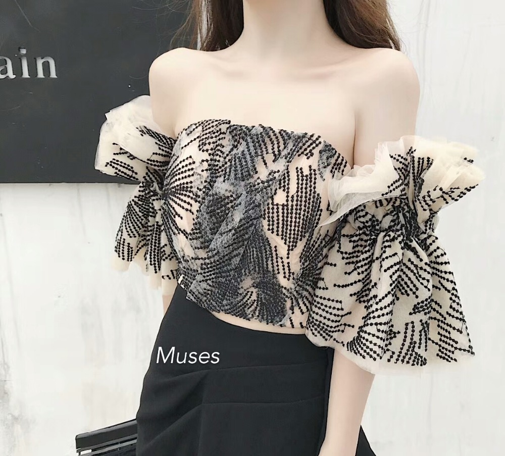 2019 Summer New Sexy Off the shoulder Flare Sleeve Tube Top Slash Neck Embroidery Women Top