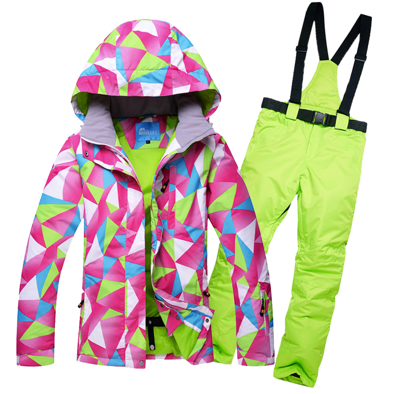 Women Ski Suit Winter Snow Ski Jacket Set Jackets And Pants Outdoor Female Single Skiing Clothes Windproof Thermal Snowboarding 2018 winter men skiing jackets and pants windproof warerproof ski suit male thermal snow clothes sets snowboarding pants