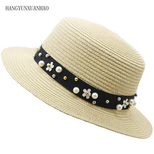 Hot Sale+Flat Top Straw hat Summer Spring Womens Trip Caps leisure Pearl Beach Sun hats Parent-child Breathable Fashion Hats