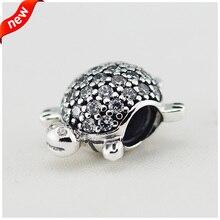 Nueva cabida los granos para pulseras Pandora tortuga encantos genuinos plata esterlina 925 de la joyería con C.Z. estilo europeo mujeres FL12227