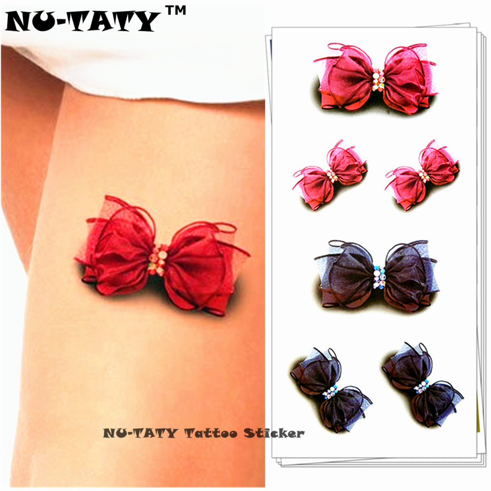 Nu-TATY Sexy Gauzy Bowknot Dočasné tetování Body Art Flash Tattoo Stickers 19 * 9cm Waterproof Styling Tatoo Home Decor Sticker