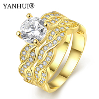 YANHUI Luxury Wedding Rings For Women Gold Color Filled Clear Zircon Fashion Jewelry CZ Diamant Engagement Ring Bague YR500