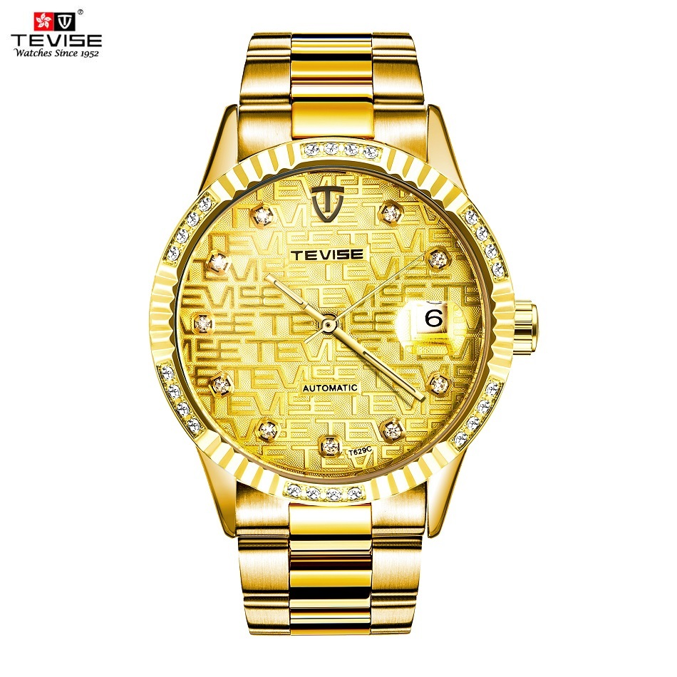 TEVISE Diamond Gold Watch Men Date Luminous Waterproof Clock Men Business Men Watches Automatic Mechanical Wristwatches tevise men watch black stainless steel automatic mechanical men s watch luminous waterproof watch rotate dial mens wristwatches