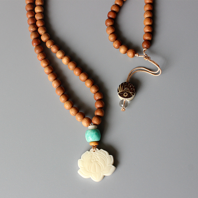 Wholesale natural wood beaded necklace with amazonite tagua nut wholesale natural wood beaded necklace with amazonite tagua nut lotus flower pendant artisan handmade zen aloadofball Image collections