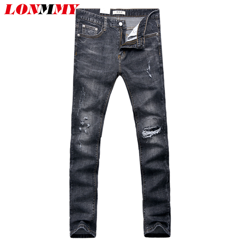 LONMMY 28-36 Skinny jeans mens Slim fit Dark Straight Elasticity Mens jeans Denim overalls men Casual Fashion New 2017 Spring