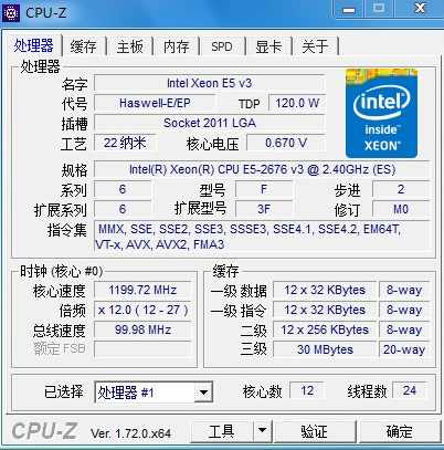 E5-2676V3 Original Intel Xeon QS Version E5-2676 V3 2.40GHz 30M 12CORES 22NM E5 2676 V3 LGA2011-3 120W Processor E5 2676V3