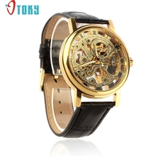OTOKY Hot Unique Mens Watches Luxury Mechanical Skeleton Watch Hand Wind Up Leather Strap Wristwatch Drop ship F20