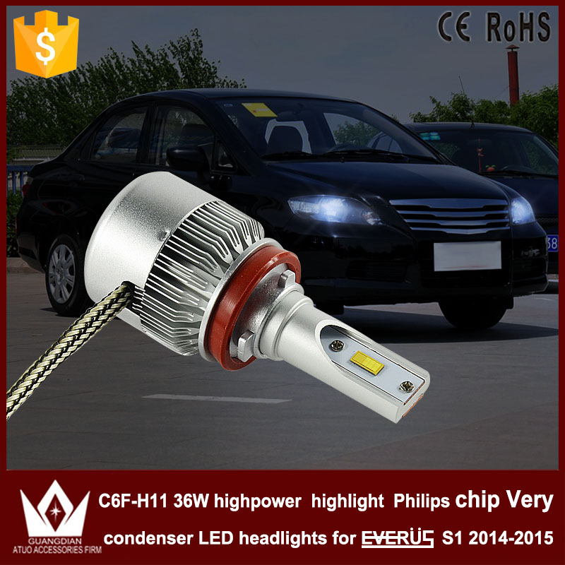 Night Lord 2pcs car led light C6F H8 H9 H11 Headlight DIPPED BEAM Low beam 6000K for Honda for EVERUS S1 2014-2015 accessories the halfway house