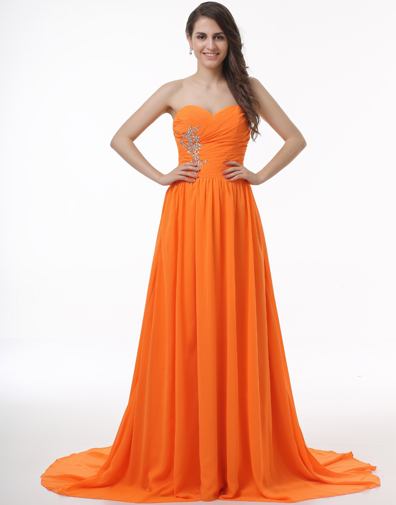orange puffy prom dresses formal dresses