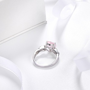 Image 4 - Hutang Womens Ring Natural Rose Quartz Solid 925 Sterling Silver Heart Rings Fine Pink Gemstone Elegant Jewelry Infinite Love