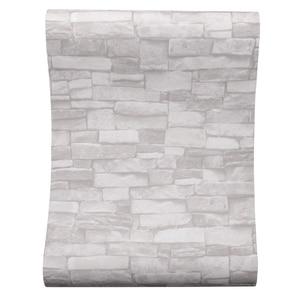 Image 2 - Crema Bianco Vintage Mattoni di Pietra Carta Da Parati Per Le Pareti Rotolo Faux 3D Sfondi Per Soggiorno camera Ristorante tessuto non tessuto di Carta Da Parati