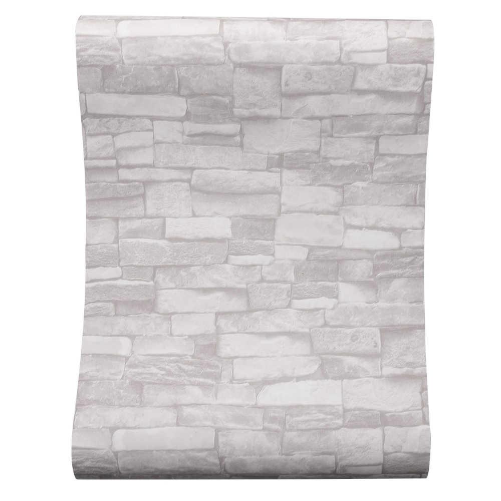 Papel pintado de ladrillo de piedra Vintage gris blanco crema para paredes rollo de papel de pared falso 3D para sala de estar restaurante pared no tejida de papel