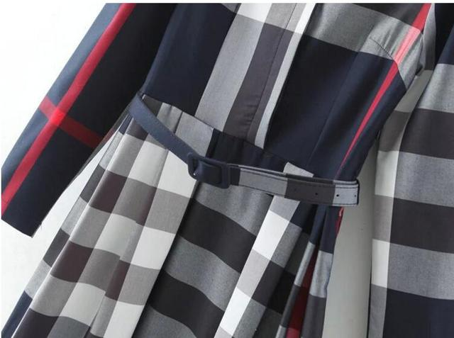 AMBMCM New Classical 2017 Women Designer Dresses Lady Vintage Long Sleeve Belt Peplum Casual Long Plaid Dress Shirtdress vestido