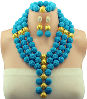 Lake Blue Shades African Beads Jewelry Sets Nigerian Wedding Jewelry Sets Full Ball Indian Bridal Jewelry Sets Hot GS453
