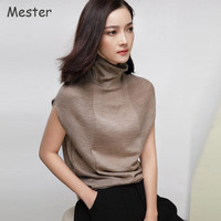 2017 High Quality Turtleneck Sleeveless Sweater Merino Wool Knitted Shirt Tops Spring Summer Thin Loose Pullovers Knitwear