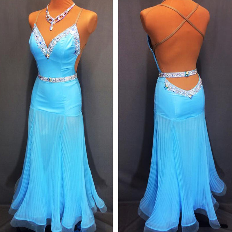 Ballroom Dance Dress Women Sexy Backless Sling Dress For Latin Dancing Cha Cha Rumba Samba Tango Dance Dresses Blue