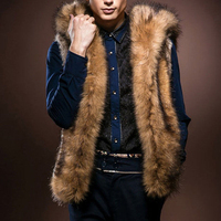 Winter Fluffy Faux Fur Jacket For Men Hooded Long Sleeve Outwear Gilet Thick Warm Fake Fur