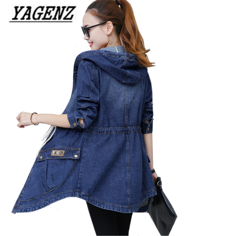 2018 New Spring/Autumn Women's Jeans   Jacket   Slim Long Sleeve Hooded Denim Outerwear Single Breasted Casual Lady   Basic   Denim Coat