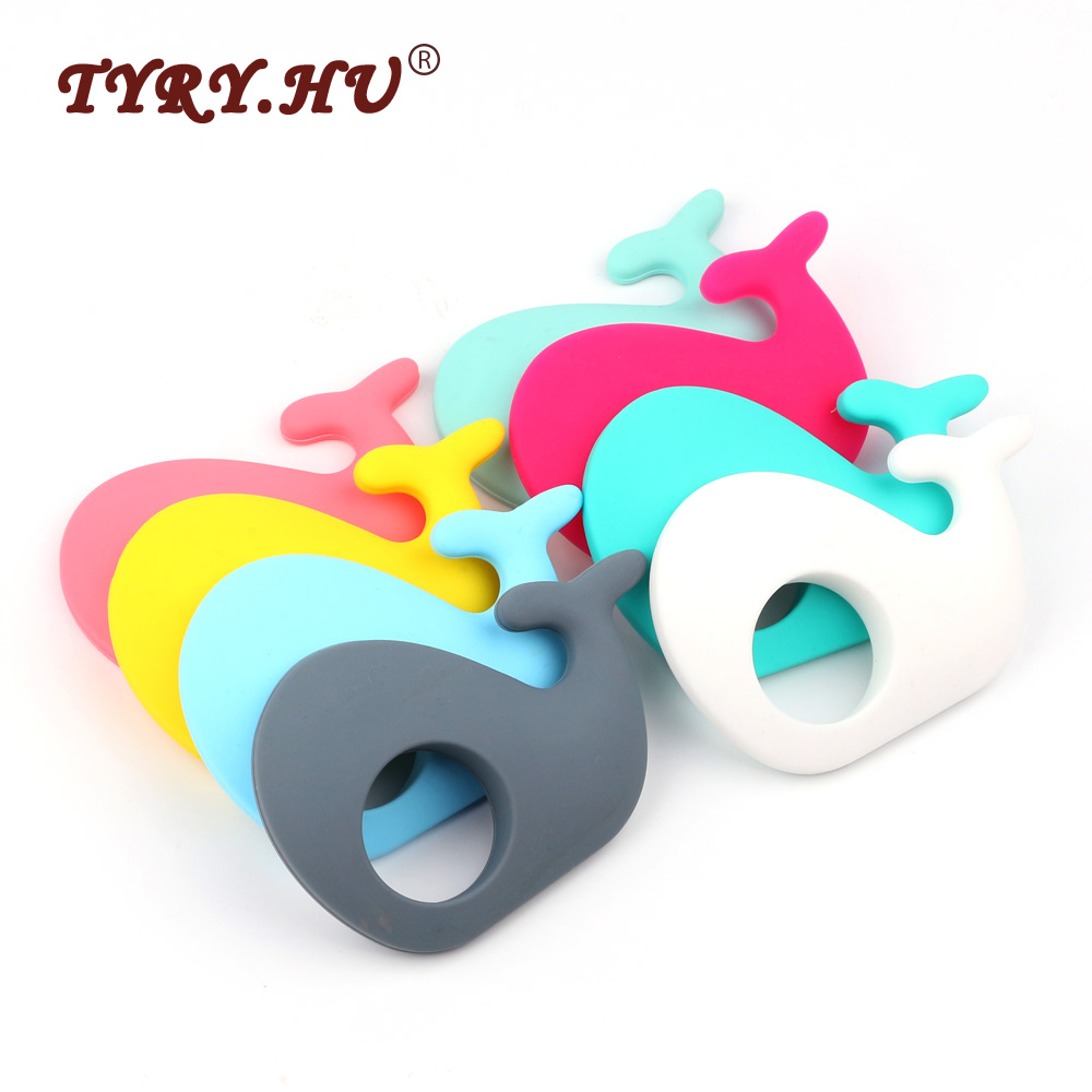 TYRY.HU Multicolor 5pcs/Lot Whale Shaped Silicone Pendant BPA Free Food Grade Silicone Baby Teether For Baby Mom Necklace Making