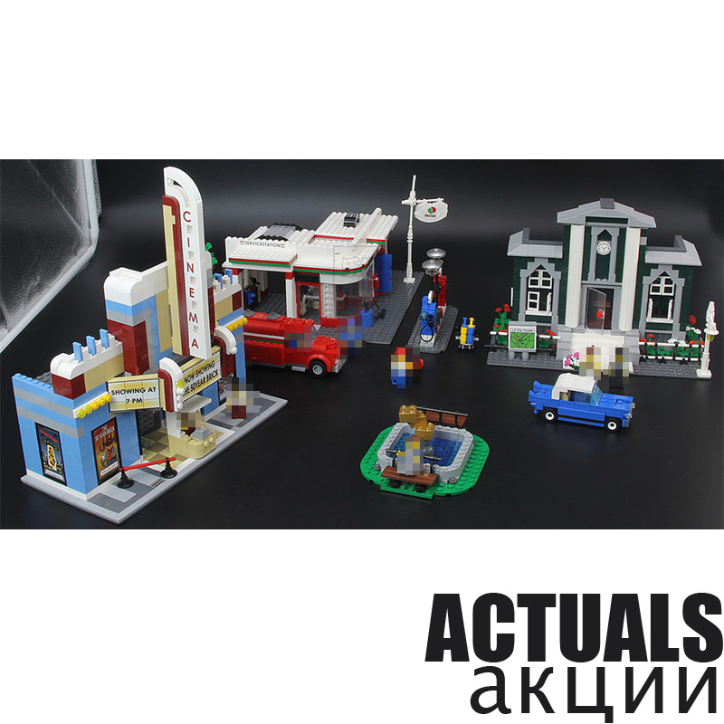 ANNIVERSARY SET Town Plan Lepin CINEMA SERVICE STATION LAMPPOST VEHICLE 02022 City DIY Building Blocks Bricks Toys 10184 2080pcs anniversary set town plan lepin cinema service station lamppost vehicle 02022 city diy building blocks bricks toys 10184 2080pcs