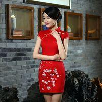 Hot Sale Traditional Chinese Ladies Cotton Cheongsam Mini Qipao Dress Summer Style Vestidos Size S M