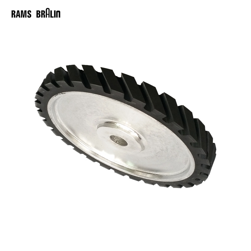 250*25mm Serrated Rubber Wheel Belt Grinder Part Abrasive Sanding Belt Contact wheel 300 50mm flat belt grinder contact wheel dynamically balanced rubber polishing wheel abrasive sanding belt set