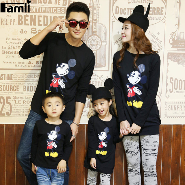 d31082ab6d6 1pc Famli 2016 Dad Son Matching Shirts Mom Daughter Spring Autumn Casual  Character Long Sleeve Cotton