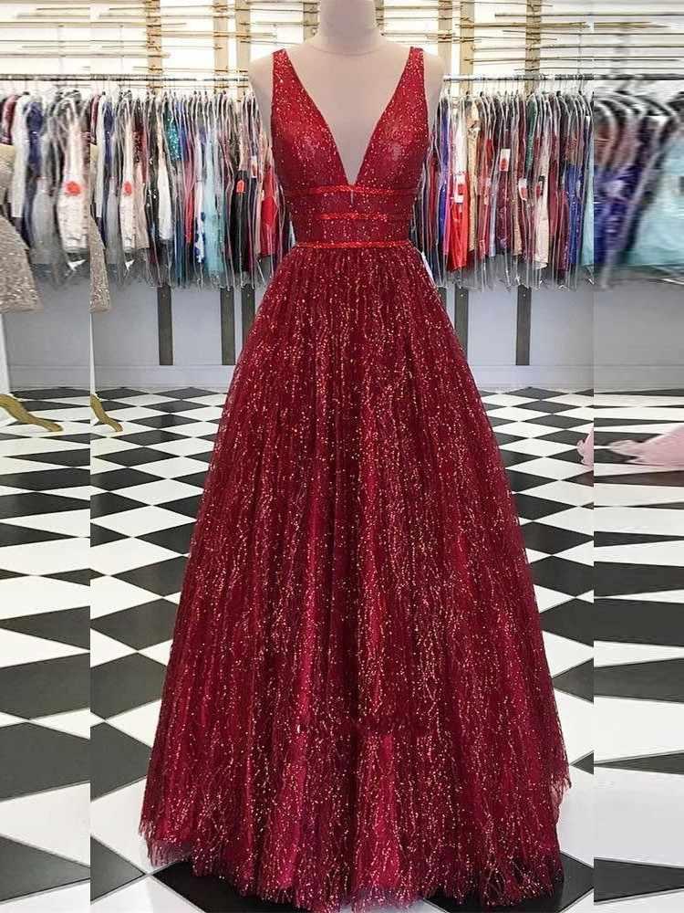 נוצץ כדור שמלה ארוך שמלות נשף 2019 V צוואר גב פתוח בורגונדי פאייטים ערב המפלגה שמלת נשף שמלה